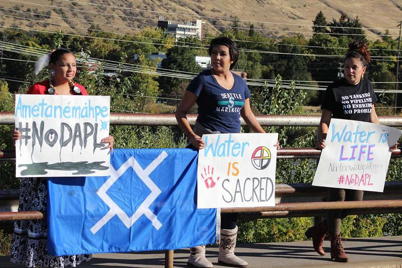 People show solidarity with the Standing Rock protesters, during a September event in Missoula, Montana.