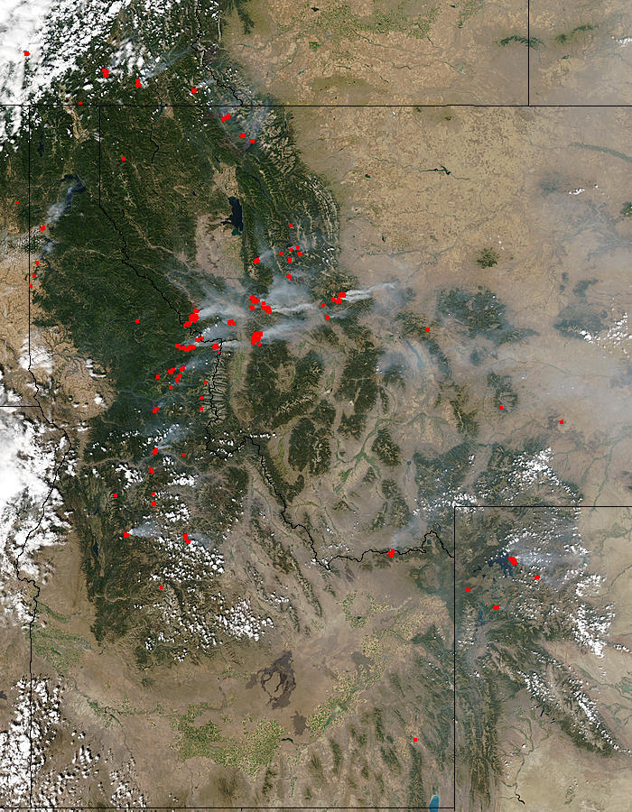 Dozens of fires burning in the Rocky Mountains in Montana were detected by the Moderate Resolution Imaging Spectroradiometer (MODIS) on the Aqua satellite on the afternoon of August 19, 2003. In the image, fire locations have been marked in yellow. The fi