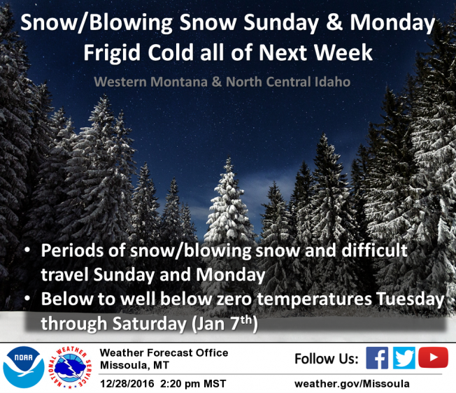 A winter storm system could bring more snow and bitterly cold temperatures across western Montana on Sunday.