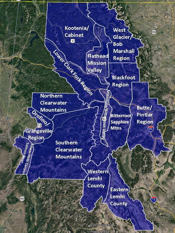 Western Montana weather zones.