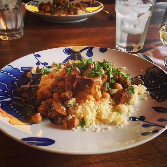 Moroccan lamb and chickpea tagine with couscous