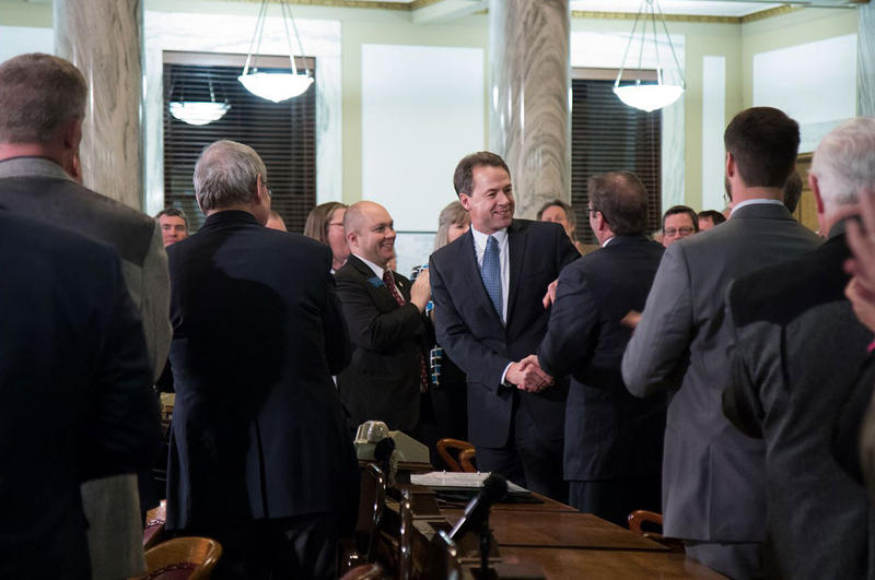 Gov. Bullock entering the House chambers before his State of the State speech Tuesday, January 24, 2017 in Helena.