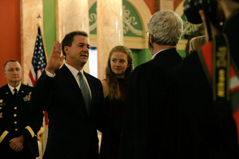 Gov. Steve Bullock being sworn in for his second term, Jan. 2, 2017 at the state Capitol in Helena, MT.