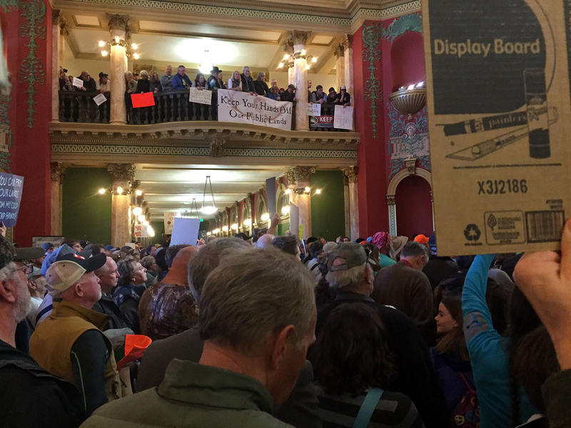 Public lands supporters packed into the Capitol in Helena, Monday, Jan. 30, 2017.