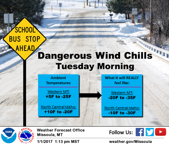 Dangerous Wind Chills Tuesday Morning In Western Montana