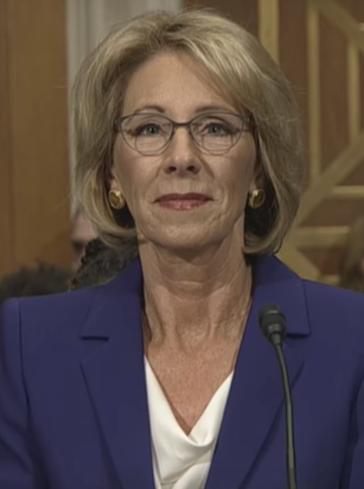 Betsy Devos, the new U.S. Secretary of Education, at a confirmation hearing on January 17, 2017.