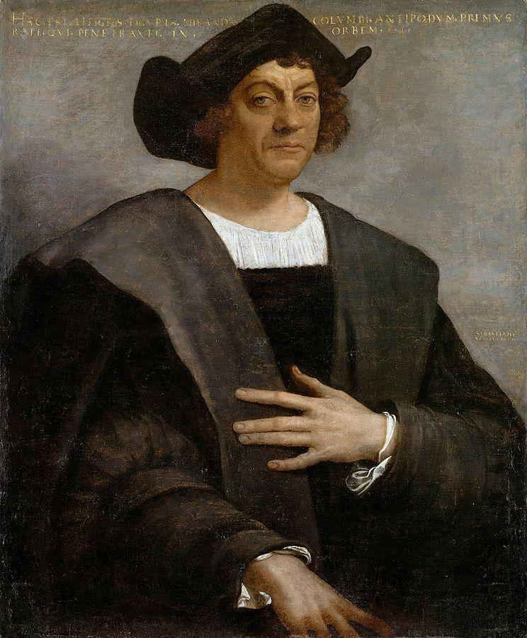 Posthumous portrait of Christopher Columbus by Sebastiano del Piombo, 1519. There are no known authentic portraits of Columbus.
