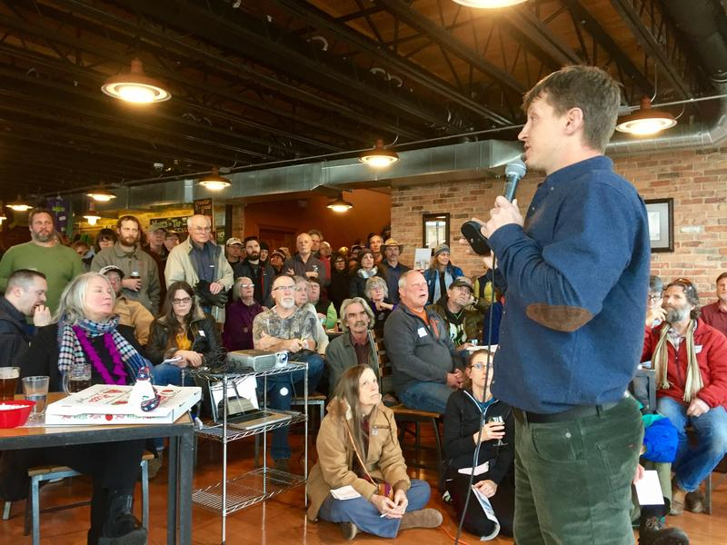 Brad Van Wert, also known as Solar Guy, gives a speech at a brewery in Kalispell, Montana earlier this month.