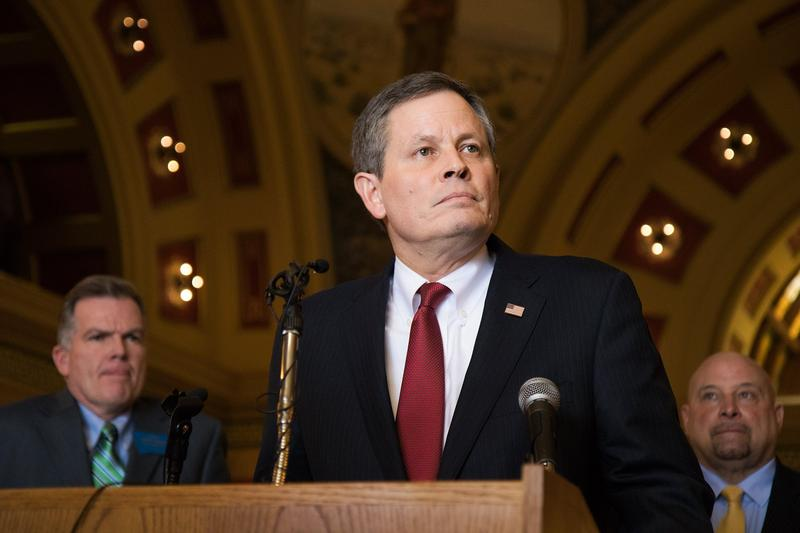 Montana Senator Steve Daines at the state capitol in Helena in February, 2017