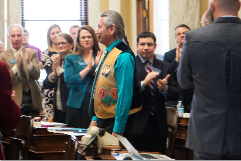 Vernon Finley, Chairman of the Confederated Salish and Kootenai Tribes delivered the State of the Tribal Nations Address in the state Capitol on Wednesday. Here Finley is greeted with applause as he enters the House chambers.
