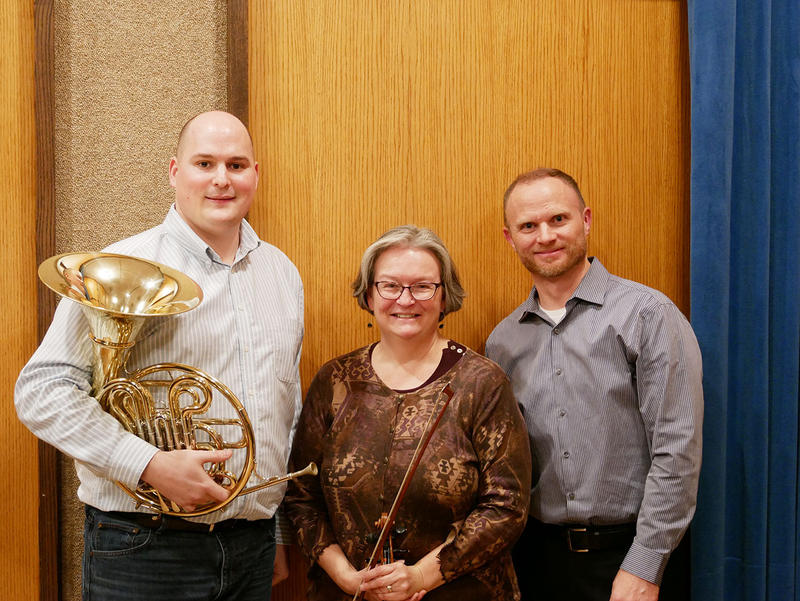 Zach Cooper, Margaret Nichols Baldridge and Christopher Hahn perform trios for violin, horn and piano by Mozart and Brahms, live on Montana Public Radio.
