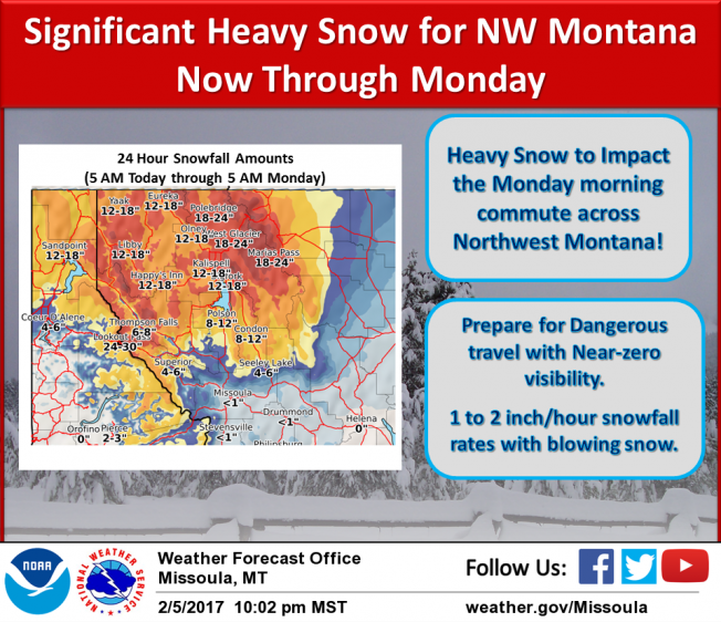 Be prepared for significant heavy snow impacts across NW Montana Monday.