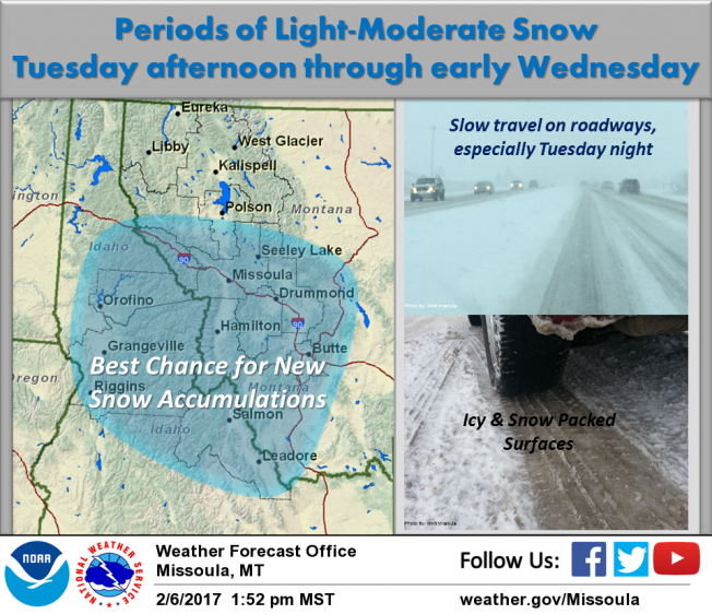 Snow will once again return to the area Tuesday afternoon through Wednesday morning across central Idaho and from the Mission Valley southward across western Montana.
