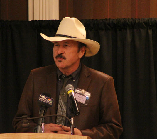 Rob Quist speaks at the Democratic Party's nominating convention in Helena.
