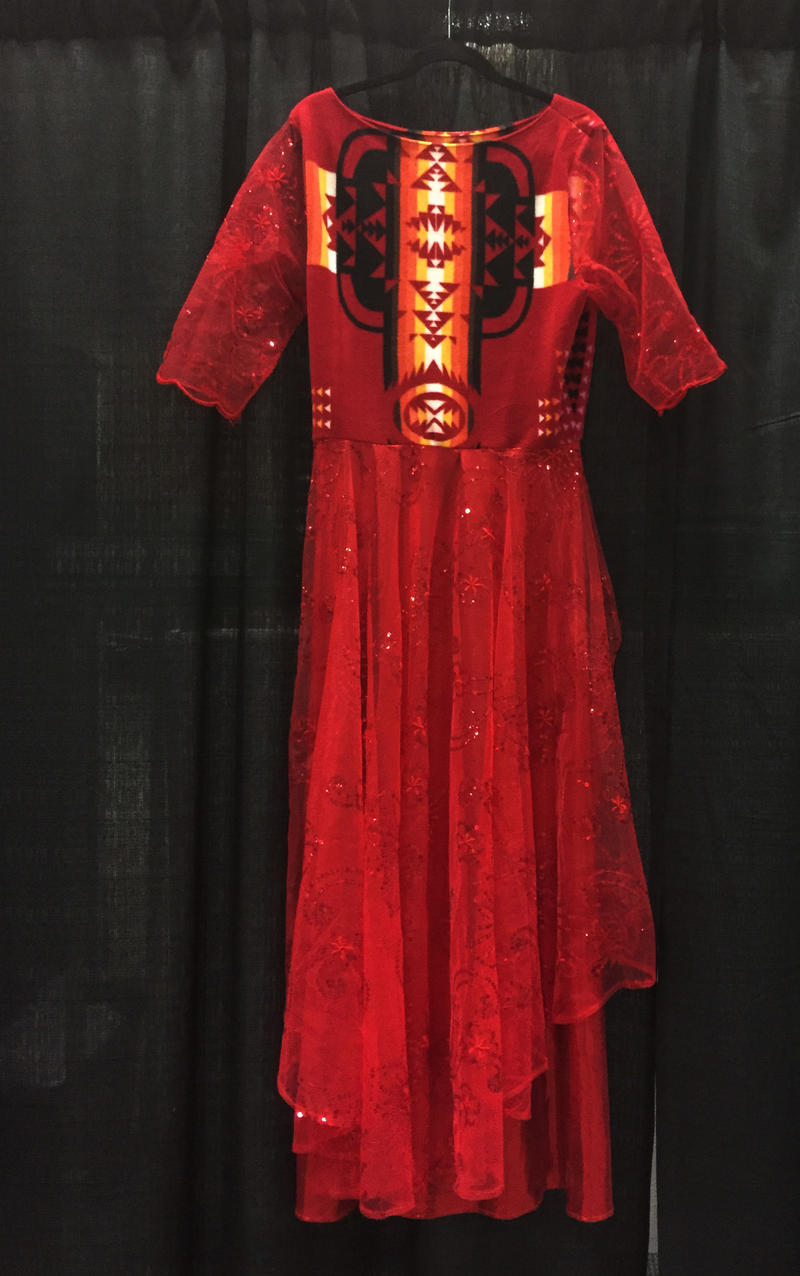 Bullshoe designed the Rose Dress to honor missing and murdered indigenous women as part of a fashion show in Edmonton, Canada.