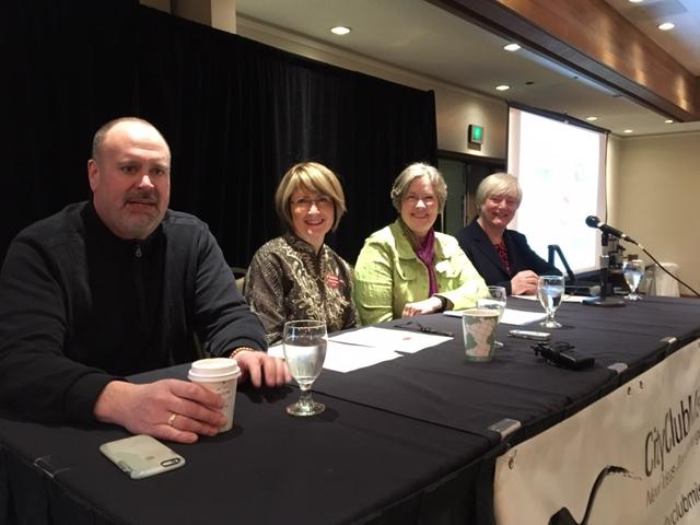 Missoula Mayor John Engen, Interim UM President Sheila Stearns, Missoula County Commissioner Jean Curtiss, and Missoulian Editor Kathy Best at a City Club meeting in Missoula March 13, 2017