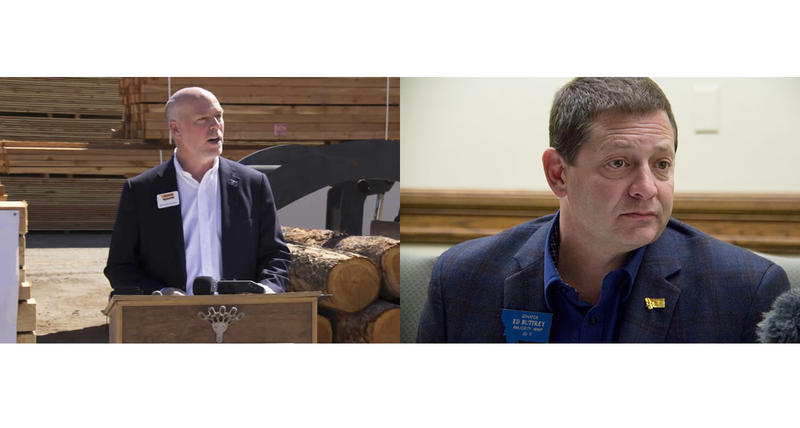 Republican candidate Greg Gianforte (left) says he has secured enough of his party's delegates to win its nomination for the special U.S. House election in May. But State Senator Ed Buttery (right) says he thinks Gianforte is wrong.