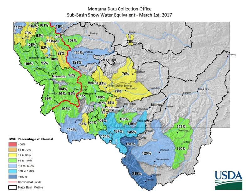 Montana Sub-basin Snow-Water Equivalent, March 01, 2017.