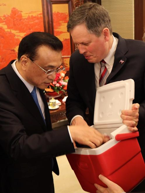 Sen. Daines hand-carried four Montana steaks and a photo of Fred Wacker of Miles City and his cows to China and presented them to Premier Li Keqiang to underscore the importance of opening Chinese markets to U.S. beef imports.