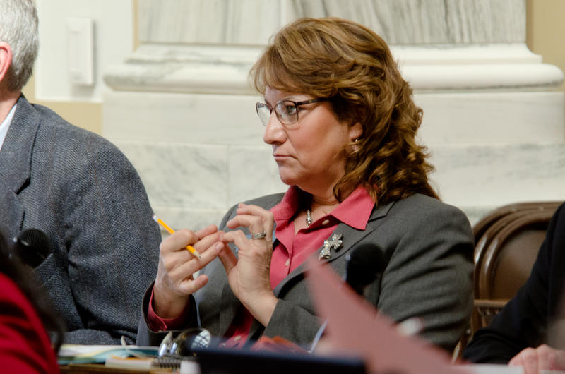 Theresa Manzella, R-Hamilton, listens Thursday to debate in the House before introducing Senate Bill 368. Manzella is carrying the bill that would increase campaign contribution caps for state candidates.