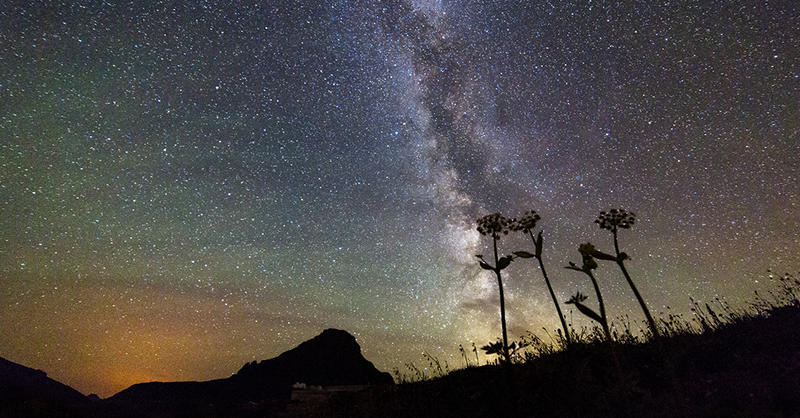 Night sky over Logan Pass in Glacier National park.
