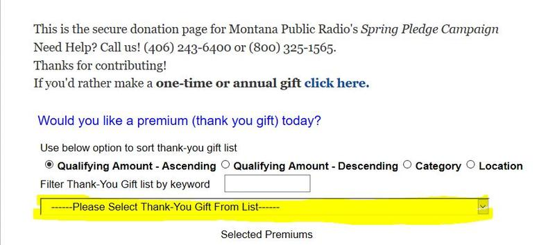 View the thank-you gifts (AKA premiums) for MTPR donors.