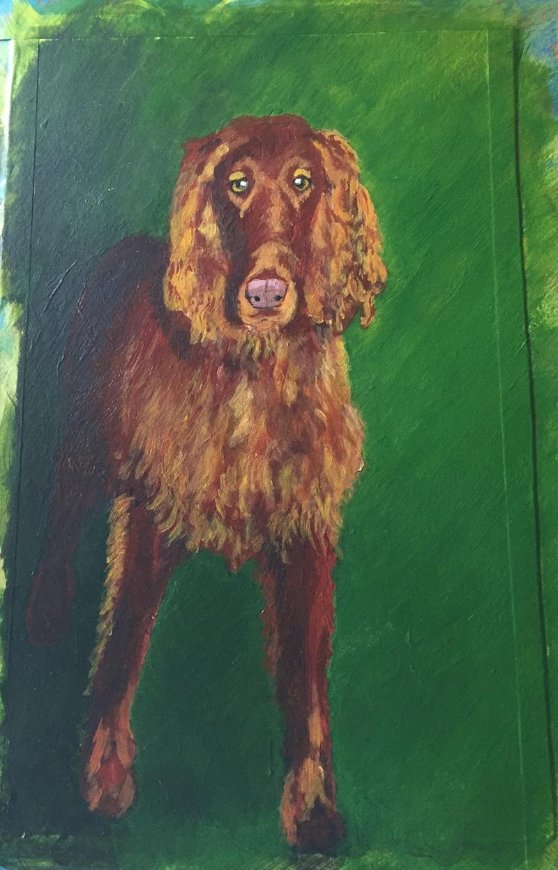 Painting of Rusty the dog