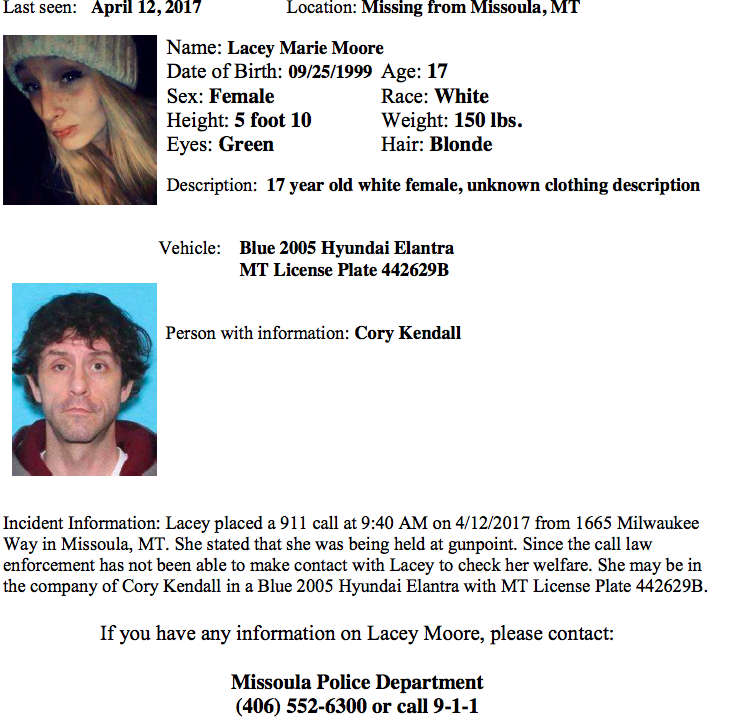 Missoula Police are looking for Lacey Marie Moore