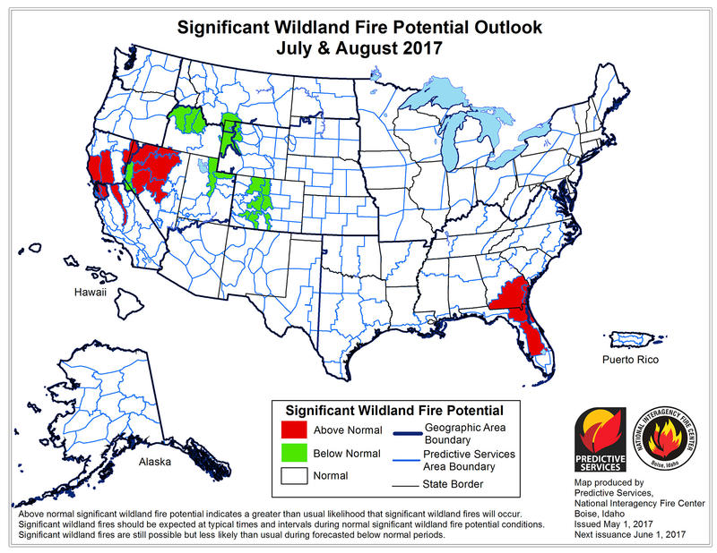 Fire experts are predicting a slower than normal start to wildfire season in Montana this year, but by July and August the potential jumps up to normal, according to the National Interagency Fire Center.