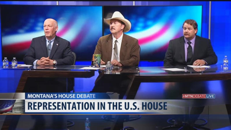Greg Gianforte, Rob Quist and Mark Wicks at the MTN News debate April 29, 2017.
