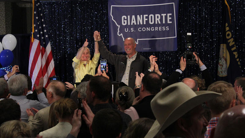 Greg Gianforte and his wife, Susan, celebrate victory in the U.S. House race May 25, 2017 in Bozeman, MT.