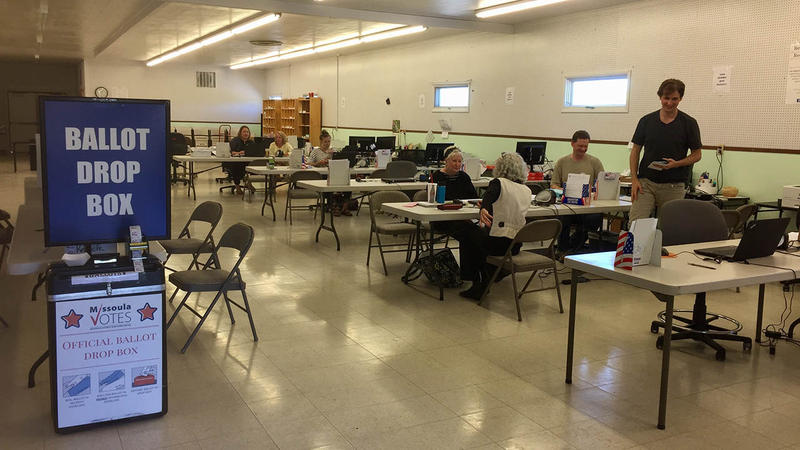 Voters at the Missoula County ballot drop-off center, May 23, 2017.