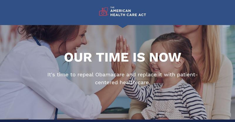 Screen capture from the American Health Care Act website, https://housegop.leadpages.co/healthcare/.