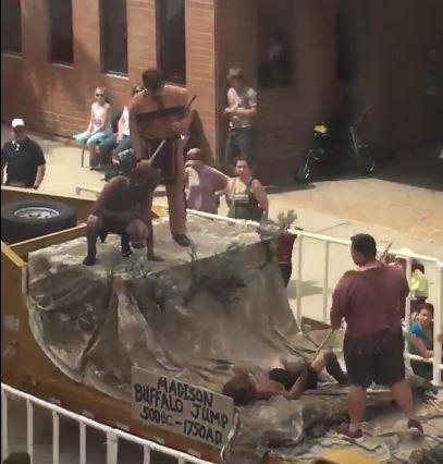 A float in the Helena Vigilante Day parade depicting the Madison Buffalo Jump has been criticized by the ACLU and others for its portrayal of Native Americans.