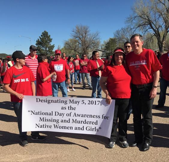 Marchers, including Sen. Steve Daines, in the Missing and Murdered Indigenous Women's Walk in Lame Deer, Montana May 5, 2017.