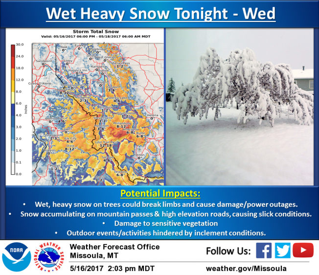 A strong spring storm will bring wet heavy snow across western Montana and central Idaho Tuesday and Wednesday.