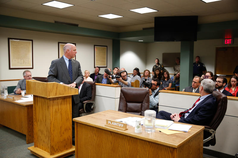 Gianforte looks back at Jacobs in Gallatin County Justice Court