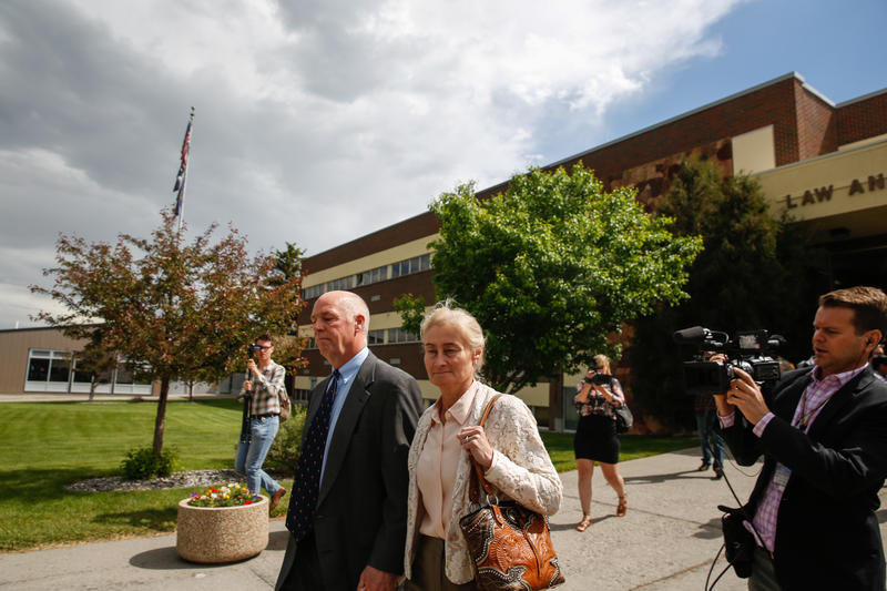 Greg and Susan Gianforte leave the Gallatin County Justice Court after his sentencing.