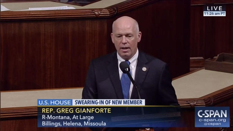 Greg Gianforte during his swearing in to the U.S. House, Wednesday, June 21, 2017.