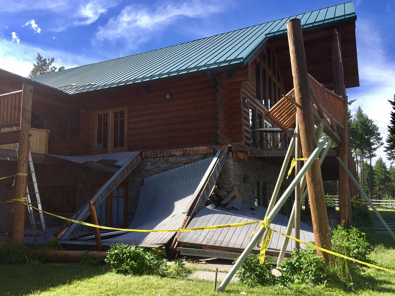 Part of the collapsed deck at the Glacier Presbyterian Camp near Lakeside, MT.