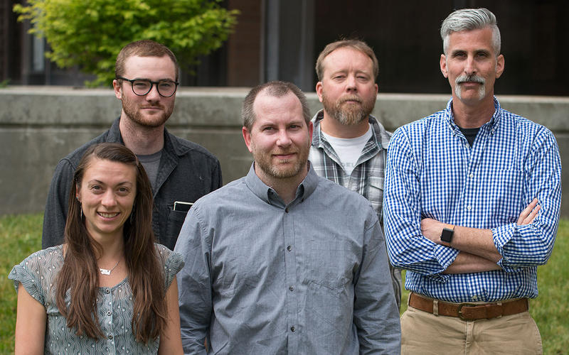 MTPR news team from left to right: Nicky Ouellet, Corin Cates-Carney, Josh Burnham, Eric Whitney, Edward O'Brien.