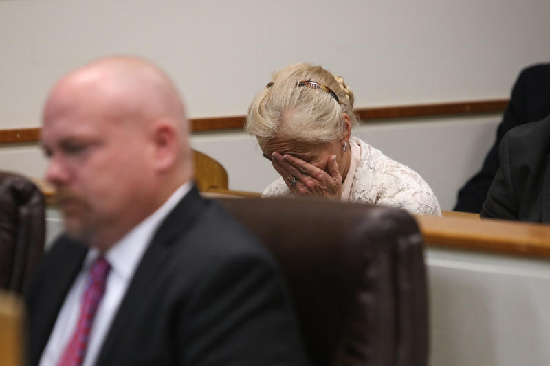Susan Gianforte during her husband's appearance in court.
