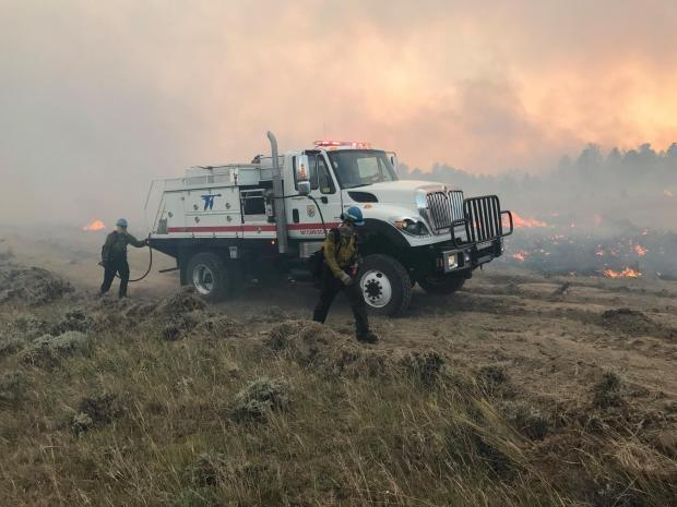 Crews work the July Fire in Phillips County, Montana July 5, 2017.