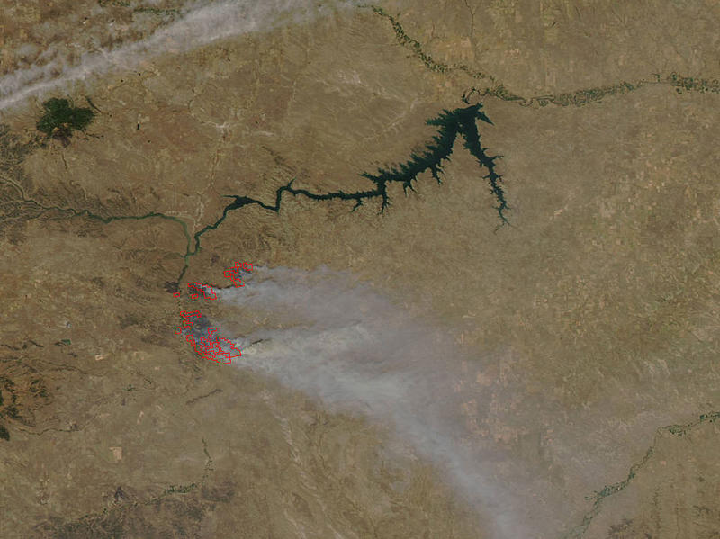A satellite photo showing the Lodgepole complex fires in Montana.