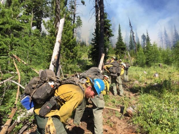Crews constructing line on the Rogers Mtn Fire