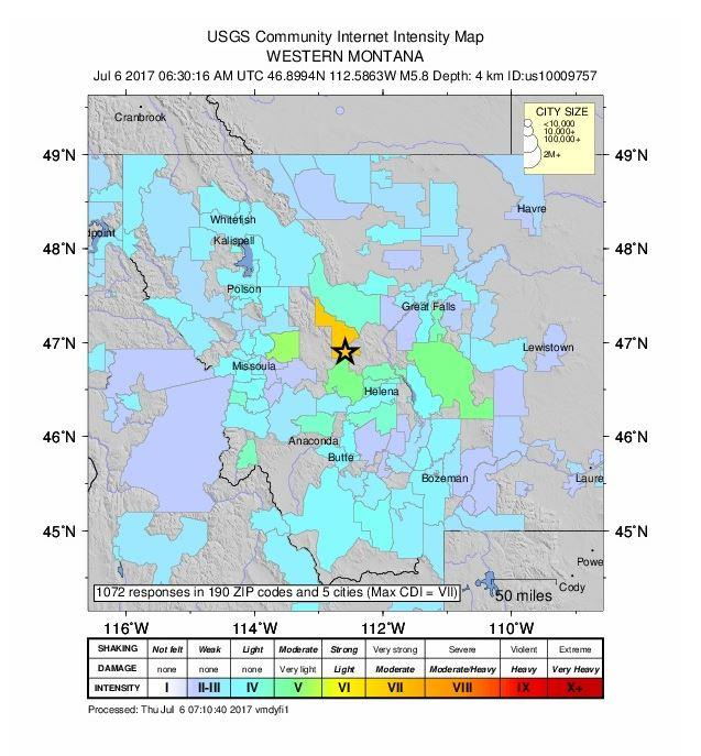 USGS Community Intensity Map shows where the earthquake was felt.