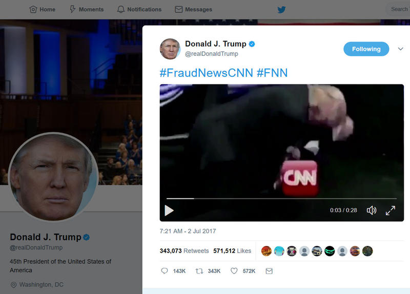 In a short video clip from Donald Trump's 2007 appearance in a pro wrestling match, he can be seen bodyslamming a man with the CNN logo superimposed over his face.
