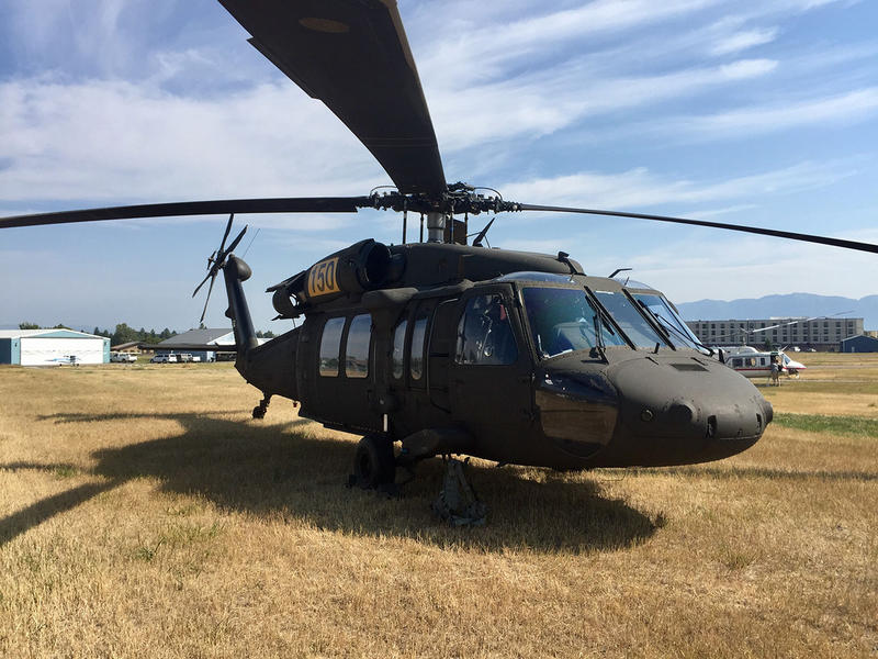 This massive Black Hawk chopper is on loan from the Montana National Guard as part of the resource-sharing enabled by a state of fire emergency declared by Governor Steve Bullock last month.
