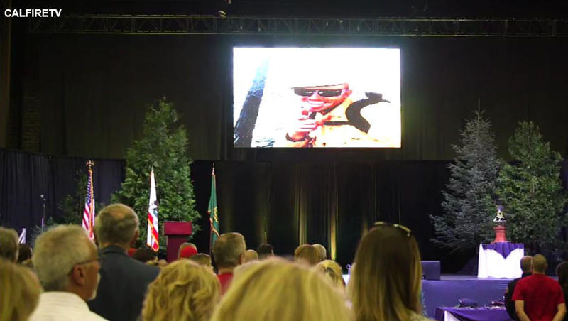 Firefighter Brent Witham, who died while on the job in Montana last week, was honored during an August 10 memorial in San Bernardio. This is a screen capture from the live stream of the memorial.