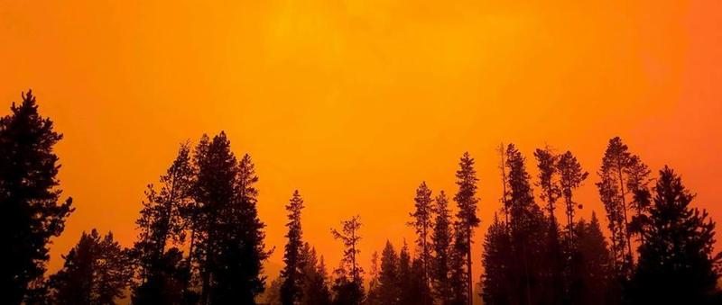 Glowing sky above the Meyers Fire SW of Philipsburg